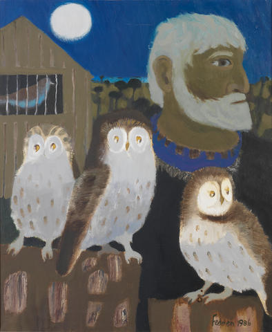 Mary Fedden R.A. (British, born 1915) Portrait of Julian Trevelyan and Three Owls 61 x 52 cm. (24 x 20 1/2 in.)