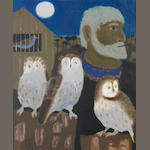 Mary Fedden R.A. (British, born 1915) Portrait of Julian and Three Owls 60 x 50 cm.