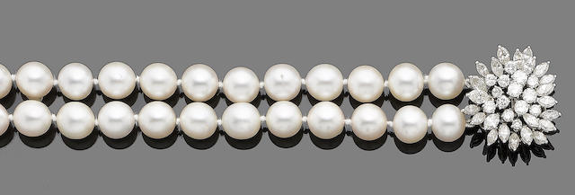 A two-strand cultured pearl necklace with diamond clasp