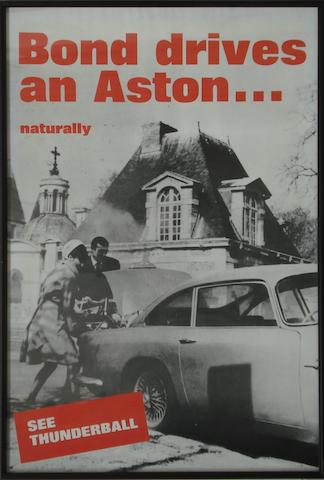 A 'Bond drives an Aston....naturally' poster for the film Thunderball,