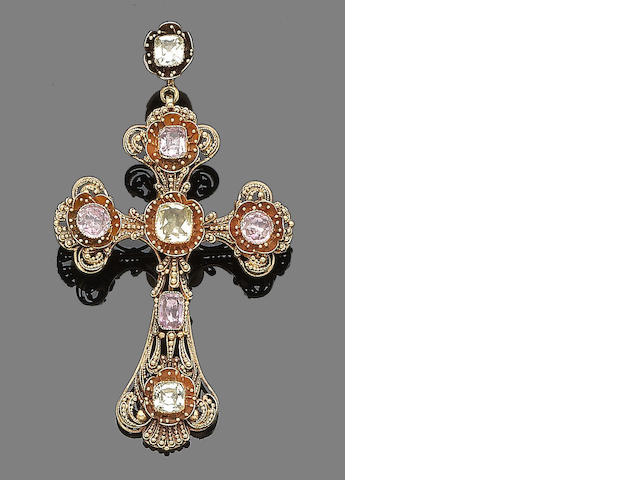 A topaz and chrysoberyl cross pendant,
