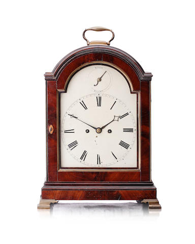 An 18th century mahogany bracket clock  The movement engraved Richard Day London