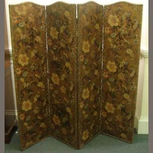 A four-fold draught screen, late 19th Century, the arched top panels decorated with flowering branches, filled cornucopia and leaf scrolls on a gilded ground, each leaf, 180 x 48cm.