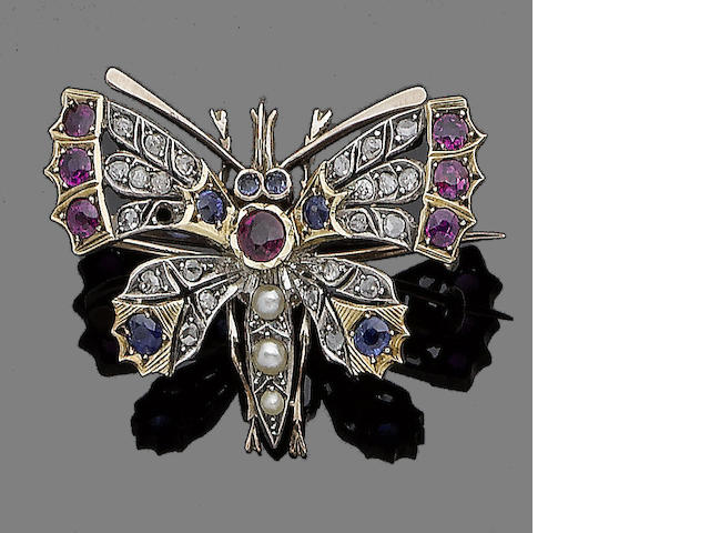 A ruby, sapphire, seed pearl and diamond butterfly brooch,