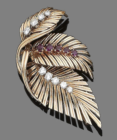 A ruby and diamond brooch, by Van Cleef & Arpels
