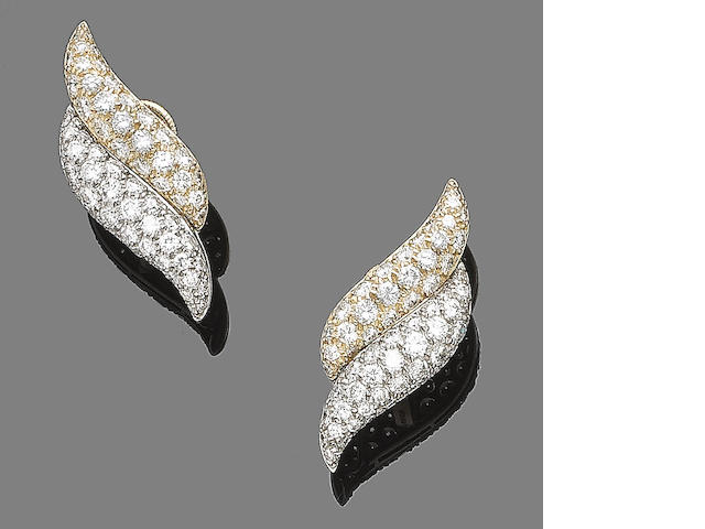A pair of diamond earclips, by Boodles,