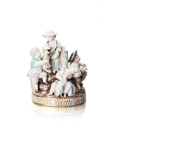 A Meissen group of children Late 19th century