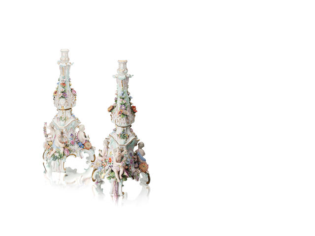 A large pair of Meissen figural candlesticks Late 19th century