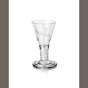 An engraved opaque twist firing glass Circa 1760
