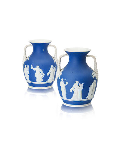 A pair of Wedgwood Jasperware twin handled vases Circa 1850