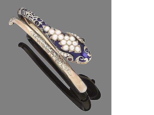 An enamel, seed pearl and garnet bangle,