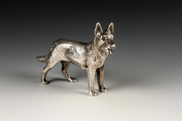 A silver model of a German Shephard Dog by A. E. Jones, Birmingham, 1972,