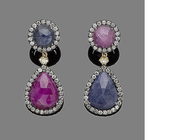 A pair of sapphire, ruby and diamond pendent earrings