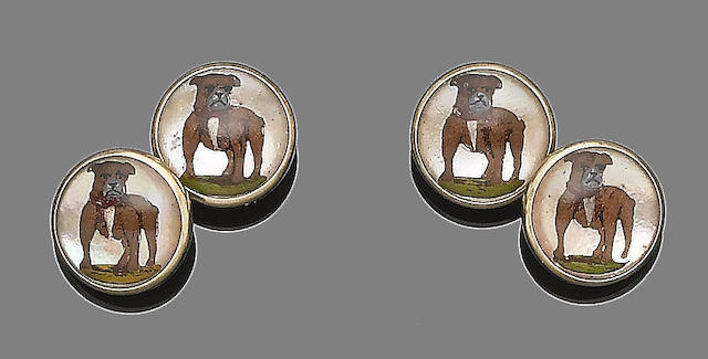 A pair of reverse intaglio cufflinks,