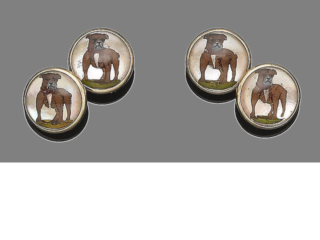 A pair of reverse intaglio cufflinks,