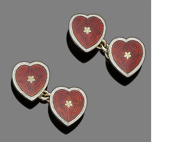 A pair of enamel cufflinks,