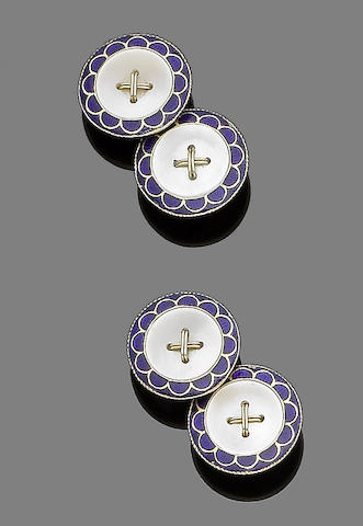 A pair of enamel and mother-of-pearl cufflinks