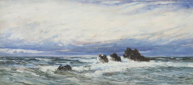 Attributed to Colin Hunter, ARA RI RSW RE (British, 1841-1904) Dawn seascape 67 x 32cm