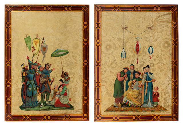 A pair of 19th century chinoiserie painted and parcel gilt  decorated panels in the Brighton Pavilion taste