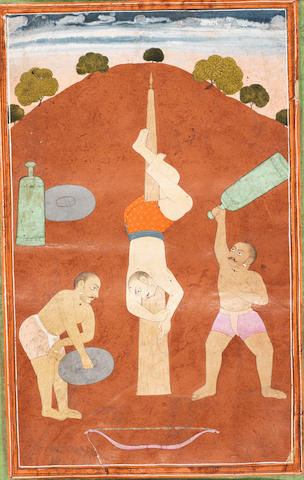 Desakh ragini: acrobats; calligraphy verso MANIJEH Provincial Mughal
