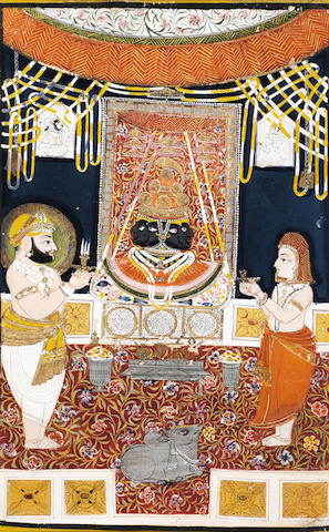 Devotees at a shrine of multi-headed Siva Nathdwara/Kotah, 19th Century