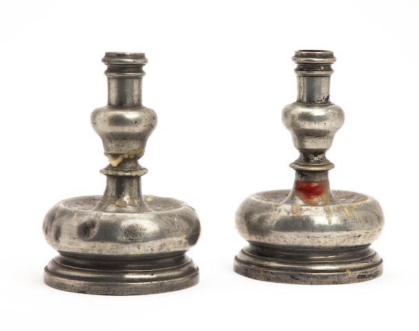 A pair of 17th century style pewter candlesticks, Portugese