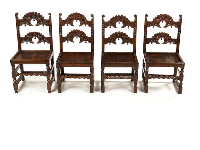 A good matched set of eight Charles II oak and elm backstools Yorkshire/Derbyshire, circa 1670