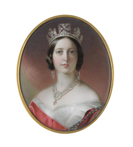 John Haslem (British, 1808-1884) Queen Victoria (1819–1901), Queen of the United Kingdom of Great Britain and Ireland (1837-1901), Empress of India (1876-1901), wearing white décolleté dress with lace trim, red sash of the Order of the Garter, blue and gold braiding, diamond pendant necklace, pendent earrings and George IV's State Diadem, her dark hair parted and loosely upswept