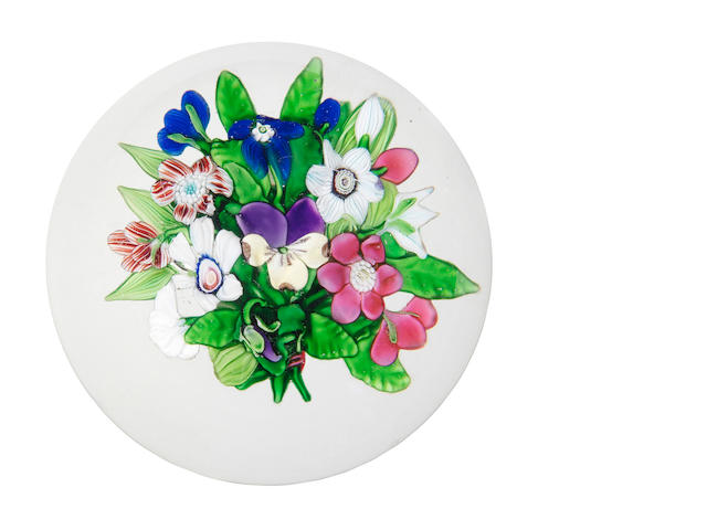 A rare Clichy three-dimentional bouquet paperweight, circa 1850