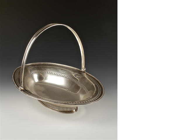 A George III silver swing handled basket maker's mark 'WA', London, 1785,