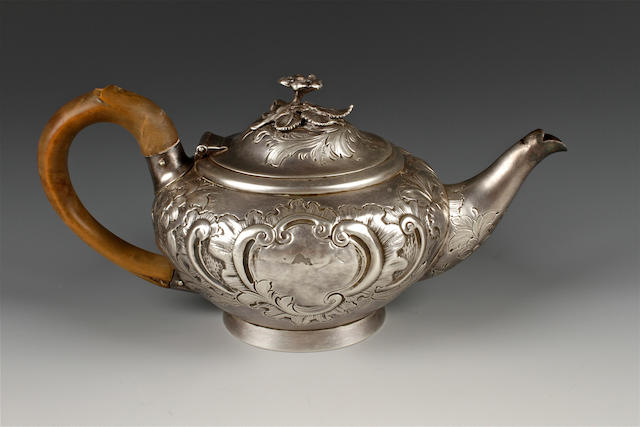 A George III silver batchelor's teapot by John Emes, London, 1800,