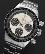 Rolex. A very fine and rare stainless steel manual wind chronograph bracelet watch 'Paul Newman' Oyster Cosmograph Daytona, Ref:6263, Serial No.3048219, 1970's (1971?)