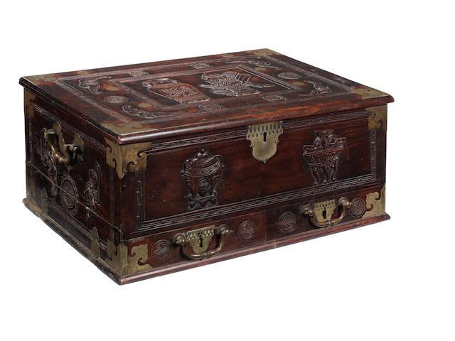 An 18th Century Anglo-Chinese hardwood strong box Dated 1739