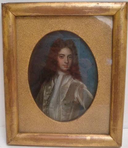 After Michael Dahl, Swedish (1659-1743) Portrait of George II as a young man, 13 x 10cm.