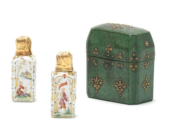 18th Shagreen cased pair of perfume bottles, glass painted, gold mounts