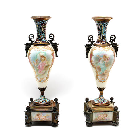 A pair French porcelain, cloisonne enamel and ormolu mounted vases,circa 1880,