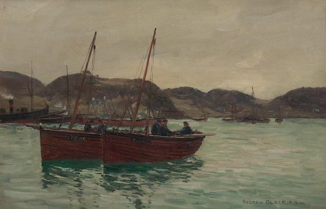 Andrew Black, RSW (British, 1850-1916) Boats in harbour
