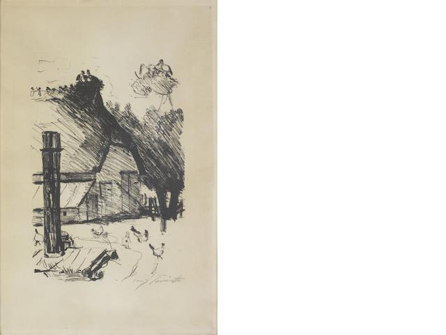 A Collection Early 20th century Prints Including three  Lovis Corinth lithographs, two signed in pencil; Muirhead Bone, two lithographs; Charles Meryon 'Tourelle de la rue de la Tixéranderie, Paris', c.1852, etching; Joseph Gottlieb Prestel aquatint in colours; Lawrence Alma-Tadema, photogravure; and Stanley R.Wilson 'Canada Geese'& 'Pintail', two woodcuts in colours; various sizes 10