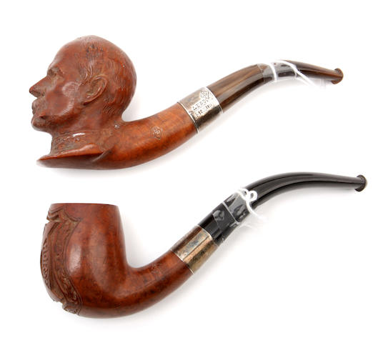 Two silver-mounted briar tobacco pipes of military interest
