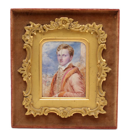 A pair of 19th century half length portrait miniatures