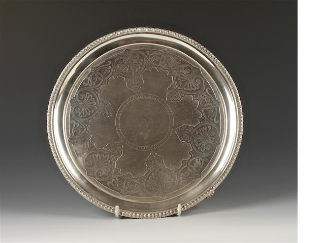 A Victorian silver salver by Messrs. Barnard, London, 1865,