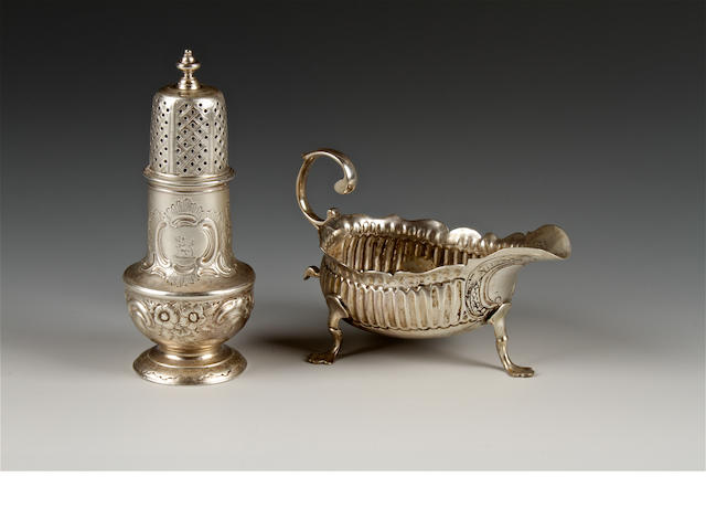 A George II silver sauce-boat maker's mark indistinct, London, 1754,  (2)
