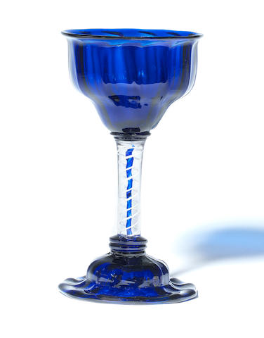 A rare colour-twist sweetmeat glass with blue bowl and foot, circa 1760
