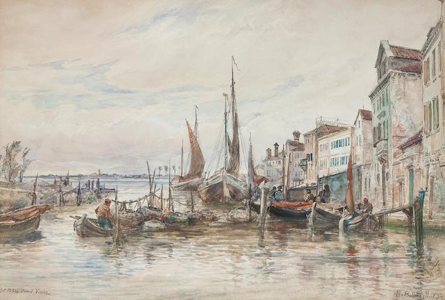 Alexander Ballingall (British, 1870-1910) St Peter's Canal, Venice