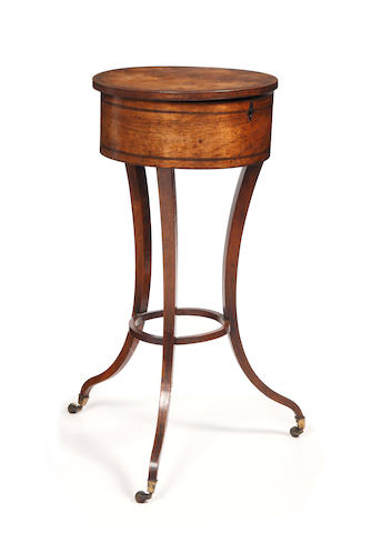 A late George III rosewood and crossbanded circular sewing table