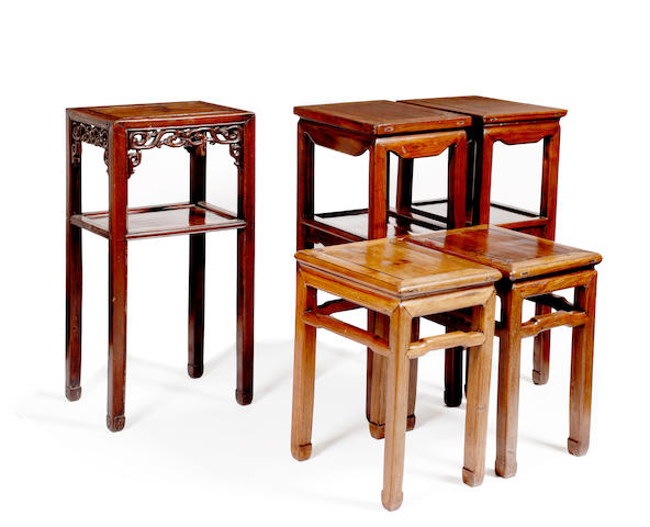 Five early 20th Century Chinese hardwood urn stands comprising: