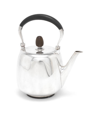 A modern Scandavian silver tea kettle, by Hingelberg,
