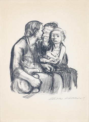 Käthe Kollwitz (German, 1867-1945) Zwei Schwatzende Frauen mit Zwei Kindern Lithograph, 1930, on wove, signed in pencil, from the edition of 150, 474 x 355mm (18 5/8 x 14in)(SH)
