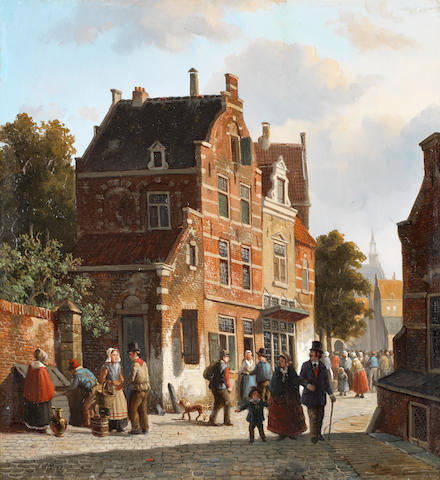 Adrianus Eversen (Dutch, 1818-1897) Figures in a busy street
