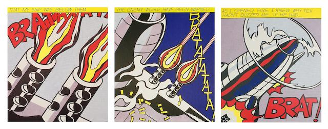 After Roy Lichtenstein (American, 1923-1997) As I Opened Fire (Corlett App.5)  The set of three offset lithographs in colours, conceived 1966, on wove, from the edition of an unknown size, with full margins, 647 x 535mm (25 1/2 x 21 1/5in)(SH)(3)(unframed)